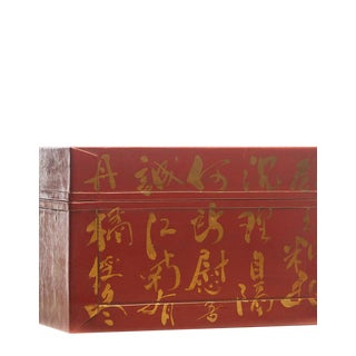 Lawrence & Scott Mandarin Red Inscription Leather Box For Sale