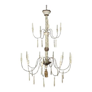 Two-Tier Shabby Chic Chandelier For Sale