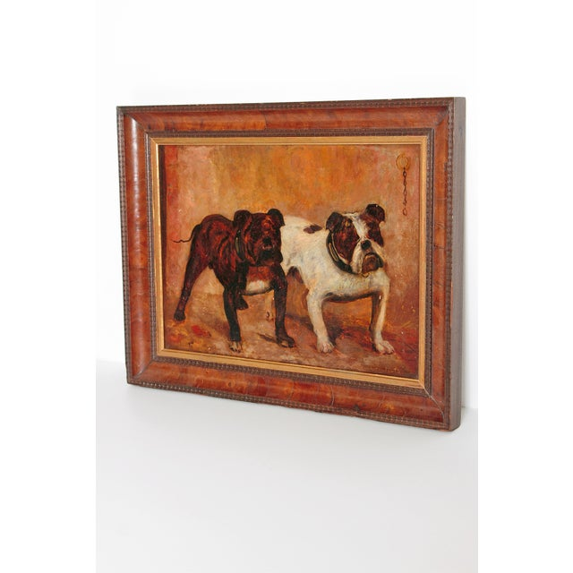 A small oil painting on board of two bulldogs with collars, one white and black the other solid black with white. A...