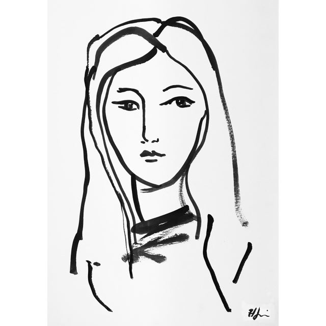 Contemporary Portrait of a Girl - #1 Drawing by Heidi Lanino For Sale - Image 3 of 3