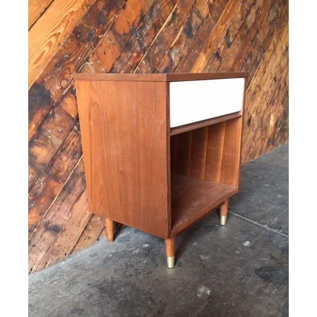 Mid-Century Walnut & White Lacquer Nightstand - Image 4 of 7
