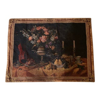Vintage Floral Violin Still Life Textile Wall Hanging For Sale