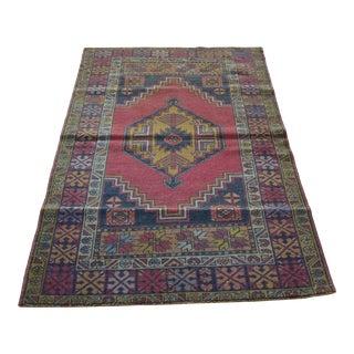 Turkish Vintage Geometric Multicolor Handmade Rug For Sale