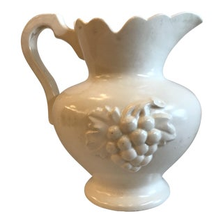 Vintage Ceramic Pitcher With Grape Design For Sale
