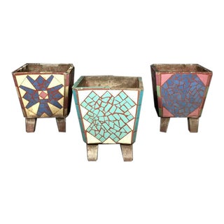 1950s American Cast Stone Tile Inlaid Garden Planters