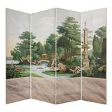 Image of Hand Painted Vintage French Scenic 4 Panel Screen For Sale