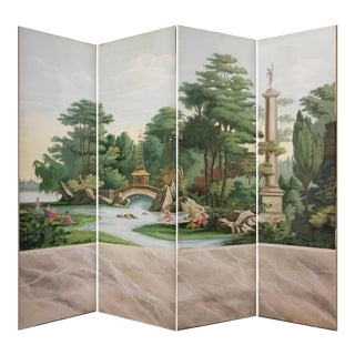 Hand Painted Vintage French Scenic 4 Panel Screen