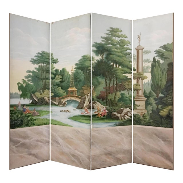Hand Painted Vintage French Scenic 4 Panel Screen For Sale