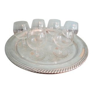 Vintage 1980s Drinks Tray & Val St-Lambert Cordial Glasses - 7 Piece Set For Sale
