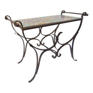 Early 20th Century Arts & Crafts Tile Top Iron Bench For Sale