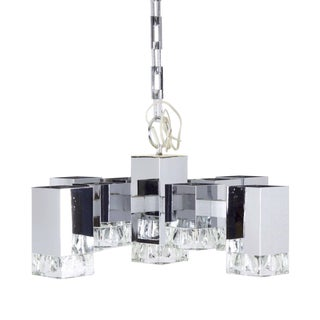 Circa 1970s Italian Modernism Ice Cube Chandelier by Gaetano Sciolari For Sale