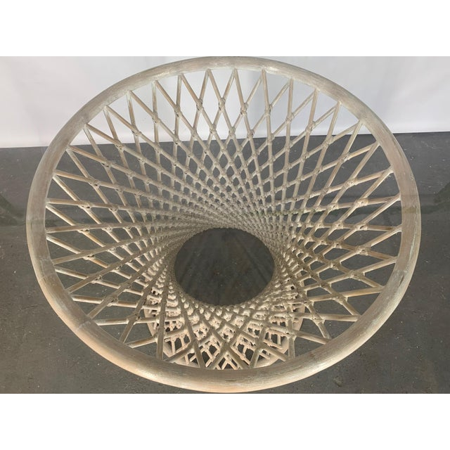 Hollywood Regency Woven Rattan Sculptural Dining Table For Sale - Image 3 of 5