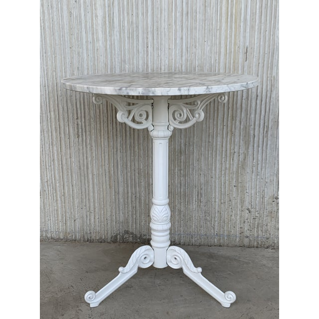 1960s 20th Century Round Cast Iron Base With Marble Top Garden Table or Bistro Table For Sale - Image 5 of 9