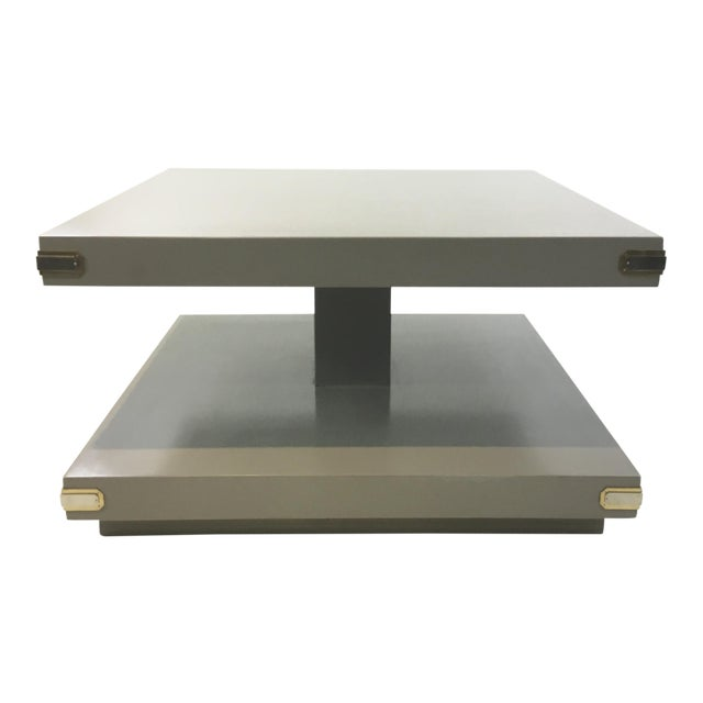 Caracole Contemporary Gray Wood Two Tiered Cocktail Table For Sale