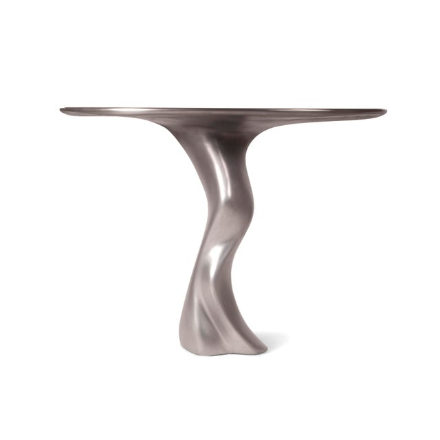 Haya Console -Stainless Steel With Antique Gray Walnut Top For Sale In Los Angeles - Image 6 of 9