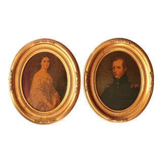 American Classical Framed Portrait Prints - a Pair For Sale