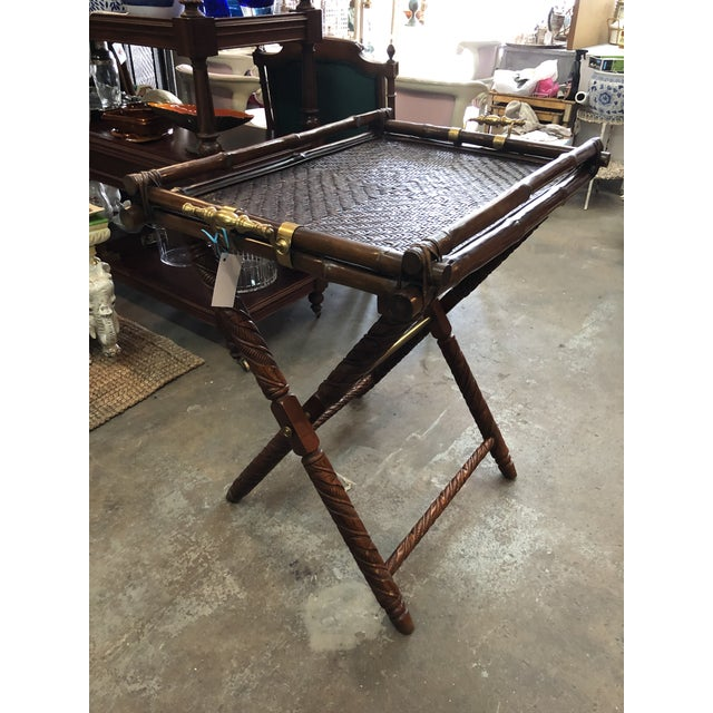 Brown Ralph Lauren Folding Table For Sale - Image 8 of 9