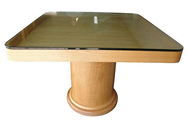 Square Wood Dining Table With Glass Top For Sale