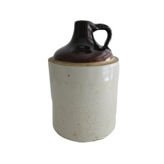 Antique Whiskey Crock White and Brown Stoneware Jug For Sale