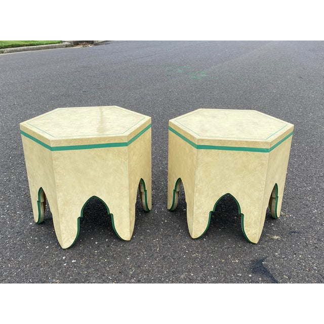 1960s Vintage Moroccan Hexagon Lacquered Side Tables - a Pair For Sale - Image 4 of 11