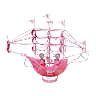 Monumental Hot Pink Custom Coastal Sail Ship Boat 2 Light Table Lamp Light Fixture For Sale
