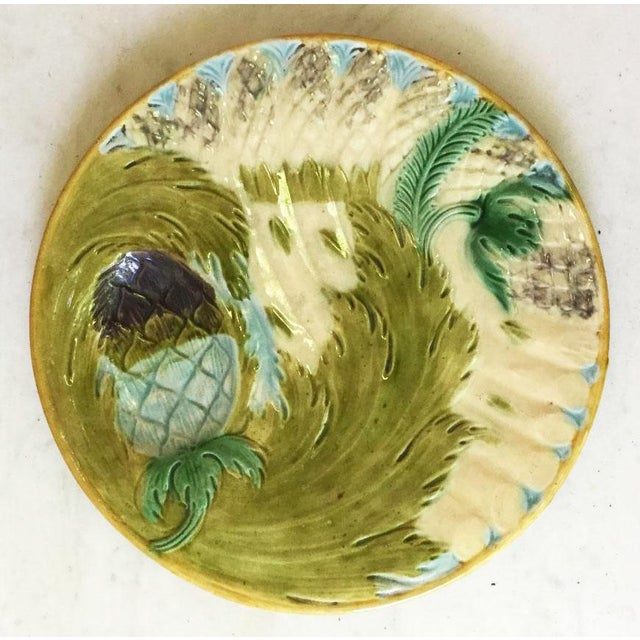 1880s Majolica Asparagus Plate Attributed to Saint Amand For Sale - Image 10 of 10