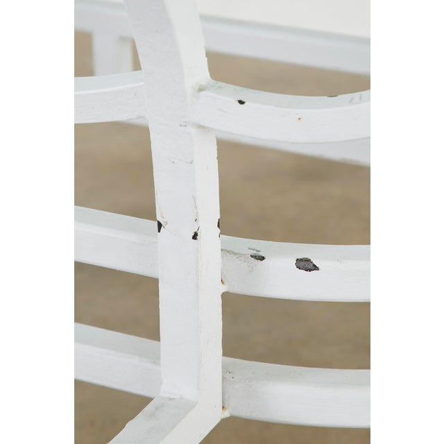 White Oval Wrought Iron Painted Garden Dining Table For Sale - Image 8 of 13