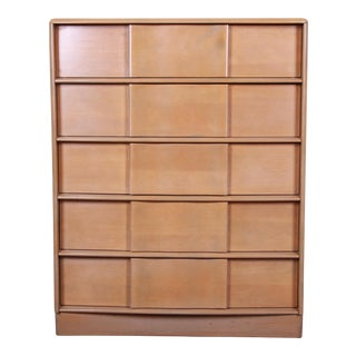 Heywood Wakefield Sculptura Mid-Century Modern Solid Maple Highboy Dresser For Sale