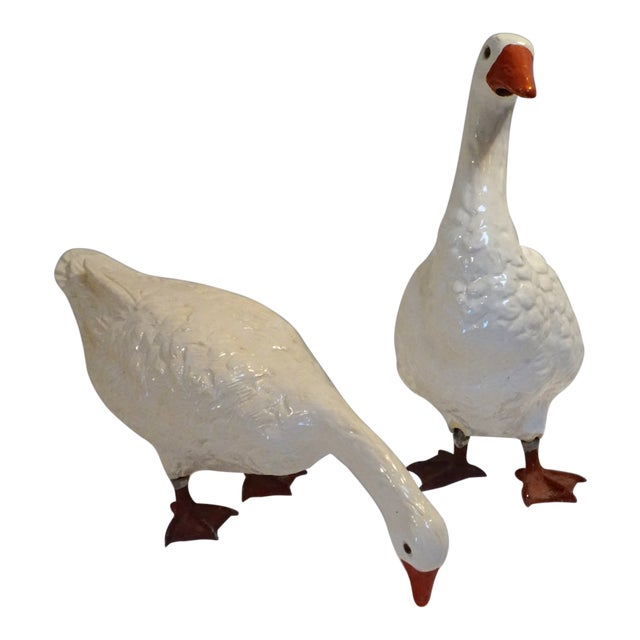 Pair of Large Vintage Ceramic Glaze Geese For Sale