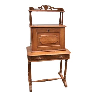 19th Century Victorian Walnut Secretary Desk For Sale