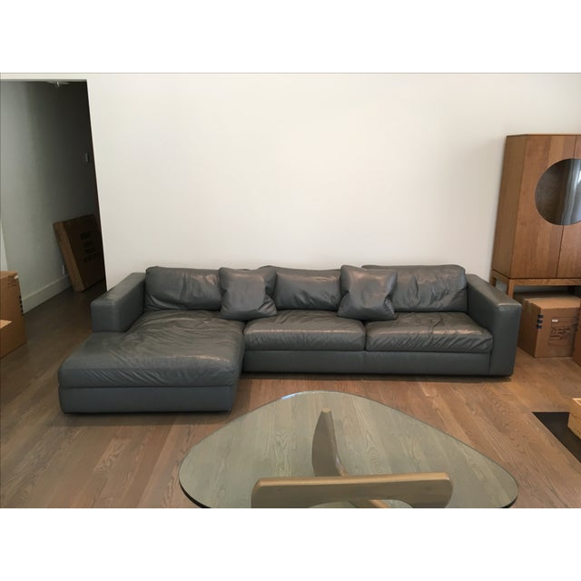 Reid Sectional Chaise in Slate Leather - Image 2 of 7