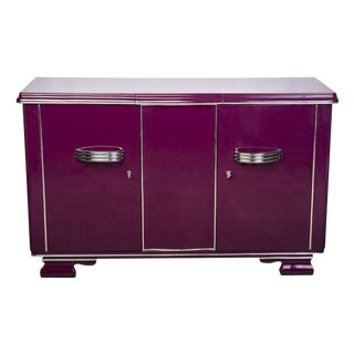 Streamlined Art Deco Sideboard in Plum For Sale