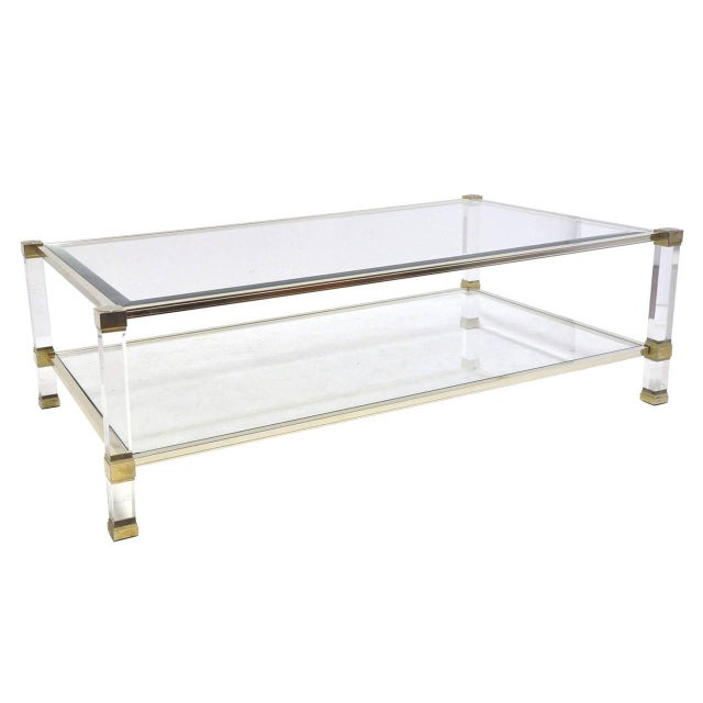 Pierre Vandel Lucite And Glass Coffee Table - Image 1 of 6