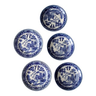 Vintage Japanese Blue Willow Ware Plates - Set of 5 For Sale