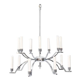 Mid-Century Chrome Chandelier Light Fixture For Sale