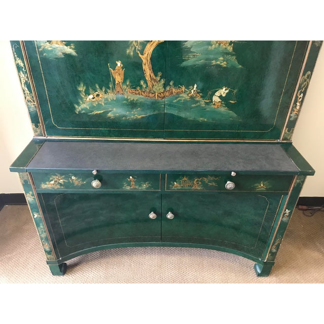 Chinoiserie Green Lacquer Secretary Desk China Display Cabinet For Sale In New York - Image 6 of 13
