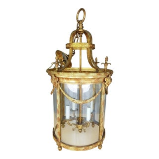 1990's Vintage Polychromed Neoclassical Bronze Portico Chandelier For Sale