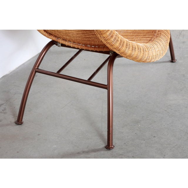 Tan Vintage Mid Century Modern Wicker Chaise Lounge - Pair Available For Sale - Image 8 of 9