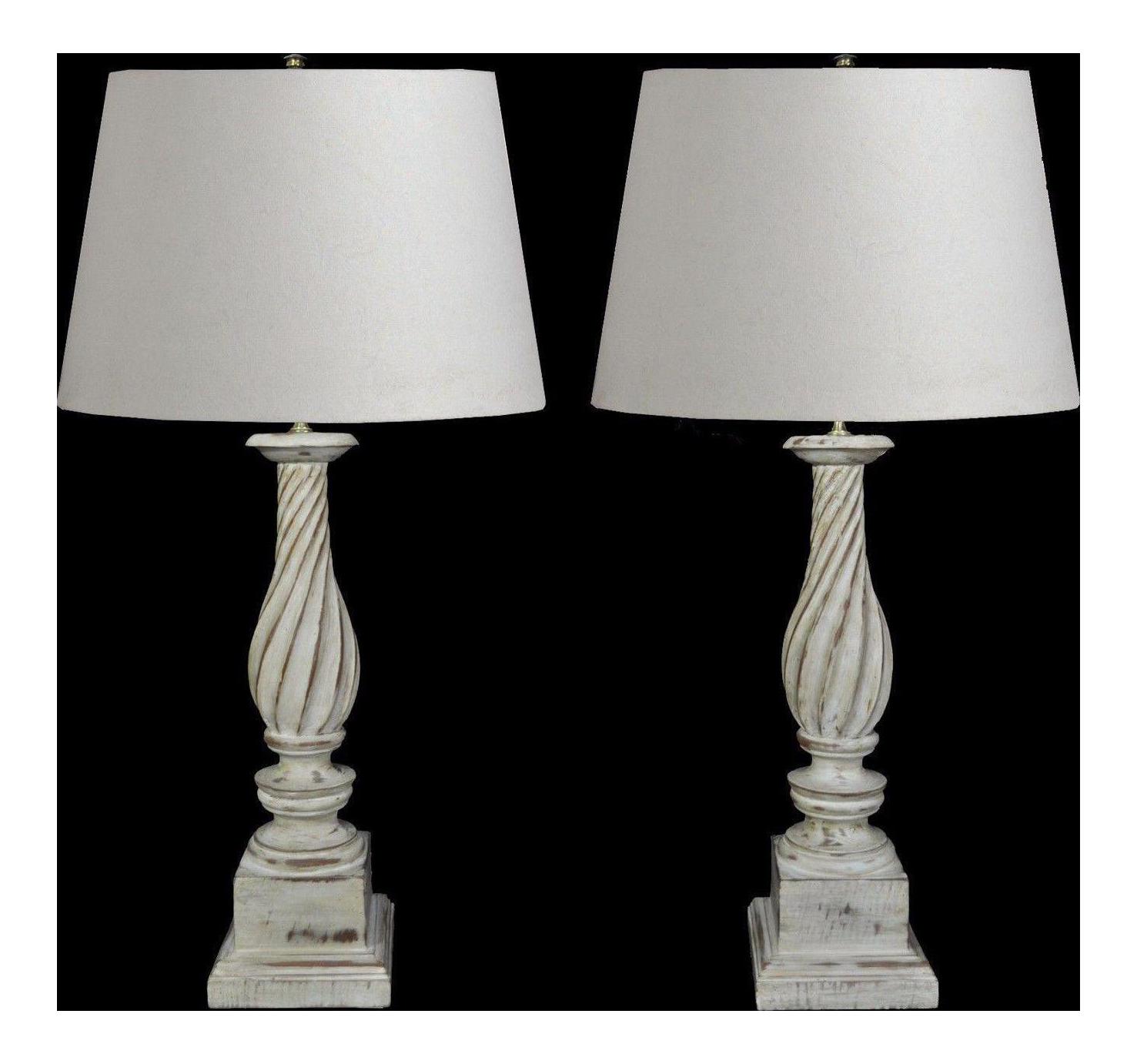 Pair Vintage Hollywood Regency White Painted Carved Wood Column Table Lamps