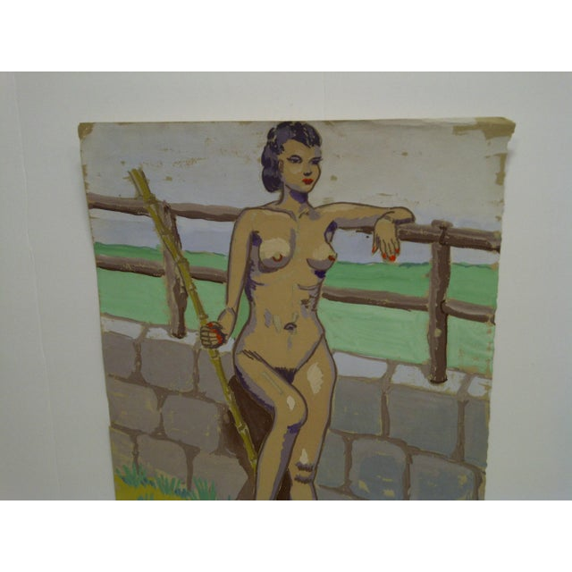 """Impressionist Original Painting on Paper """"Nude by the Wall"""" by Tom Sturges Jr., 1947 For Sale - Image 3 of 6"""