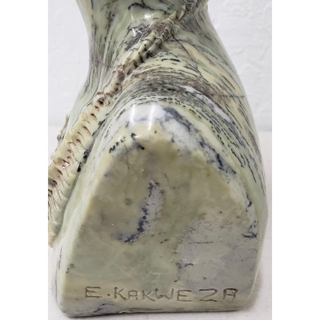 Late 20th Century Marble Sculpture of a Young African Woman by Kakweza For Sale - Image 5 of 6