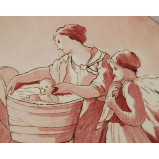 Antique Hand Painted Red Porcelain Plaque Preview