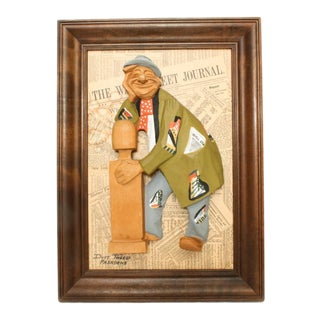 "1976 ""The Emperor of Wall Street"" Duff Tweed Original Wood Relief Sculpture in Frame For Sale"