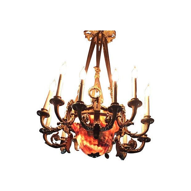 Empire French Alabaster & Bronze Chandelier For Sale - Image 3 of 5