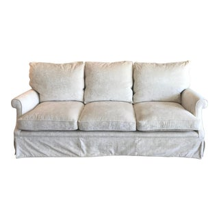 Dessin Fournir Elton Sofa in a Cream Colored Velvet For Sale