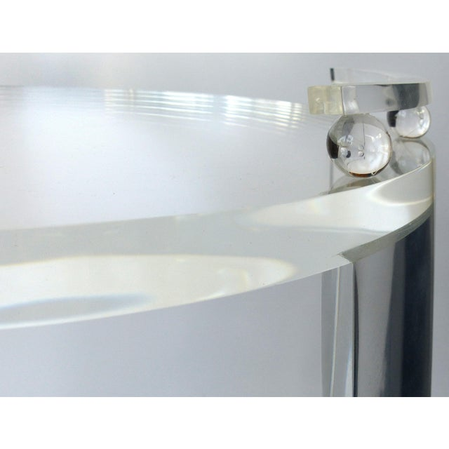 Transparent Round Lucite Bar Cart on Casters For Sale - Image 8 of 11