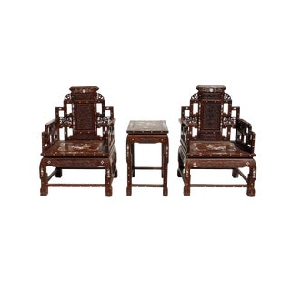 Chinese Huali Brown Rosewood Mother of Pearl Inlay Carved Armchair Set For Sale