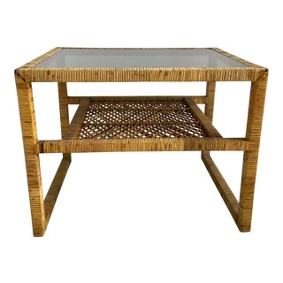 Vintage Bielecky Brothers Rattan Side Table For Sale