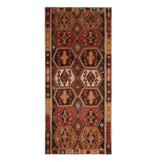 1950s Malatya Red and Off-White Wool Kilim Rug-5′5″ × 10′9″ For Sale