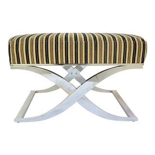 1980s Organic Modern Milo Baughman Style Chrome X Bench For Sale